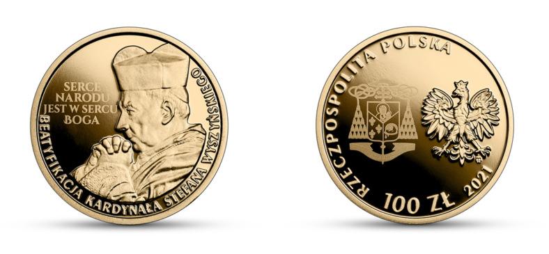 NBP Commemorative Coin: Beatification of Cardinal Stefan Wiesinski, PLN 100, inverse (L) and obverse (P) / NBP