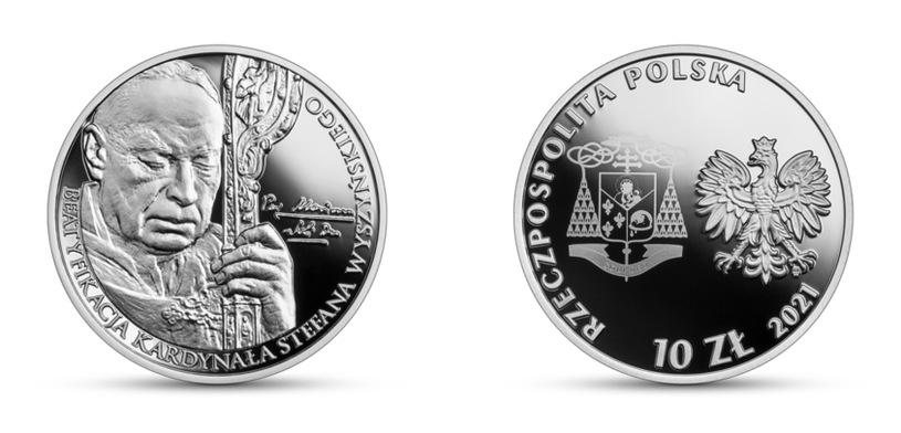 NBP Commemorative Coin: Beatification of Cardinal Stefan Wiesinski, 10 zlotys, inverse (L) and obverse (P) / NBP