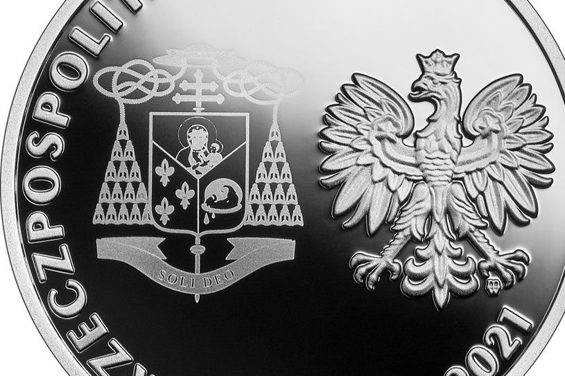 NBP Commemorative Coin: Beatification of Cardinal Stefan Wiesinski, 10 zlotys, detail face / NBP