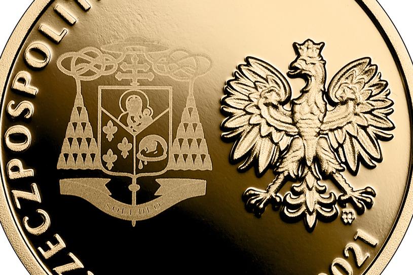 NBP Commemorative Coin: The beatification of Cardinal Stefan Wiesinski, PLN 100, obverse / NBP detail