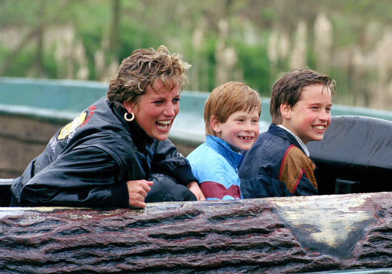 William with his mother and Prince Harry