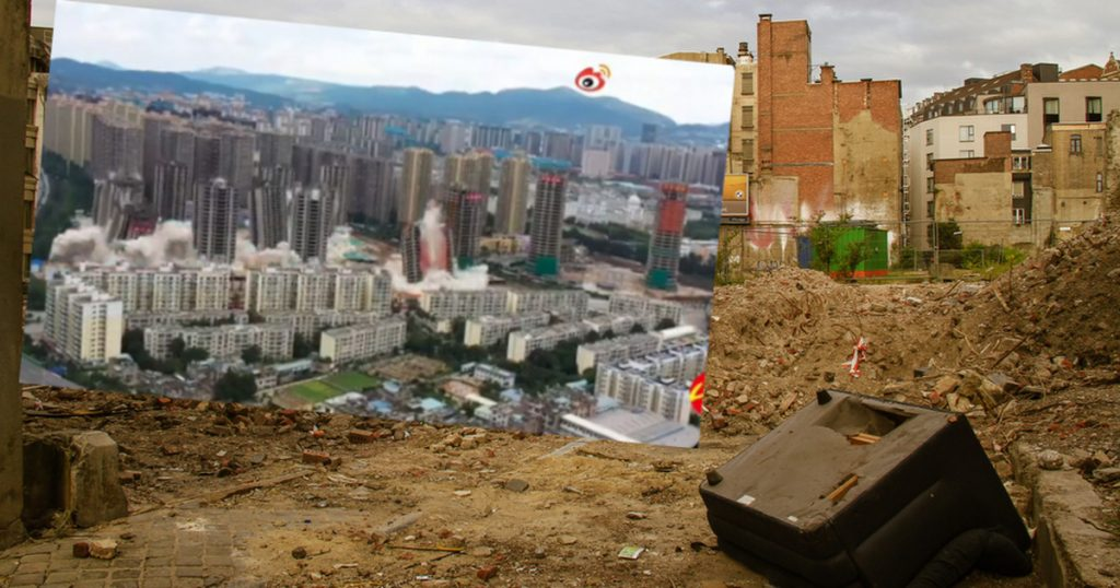 China.  15 skyscrapers disappeared in 45 seconds.  The estate collapsed [WIDEO]