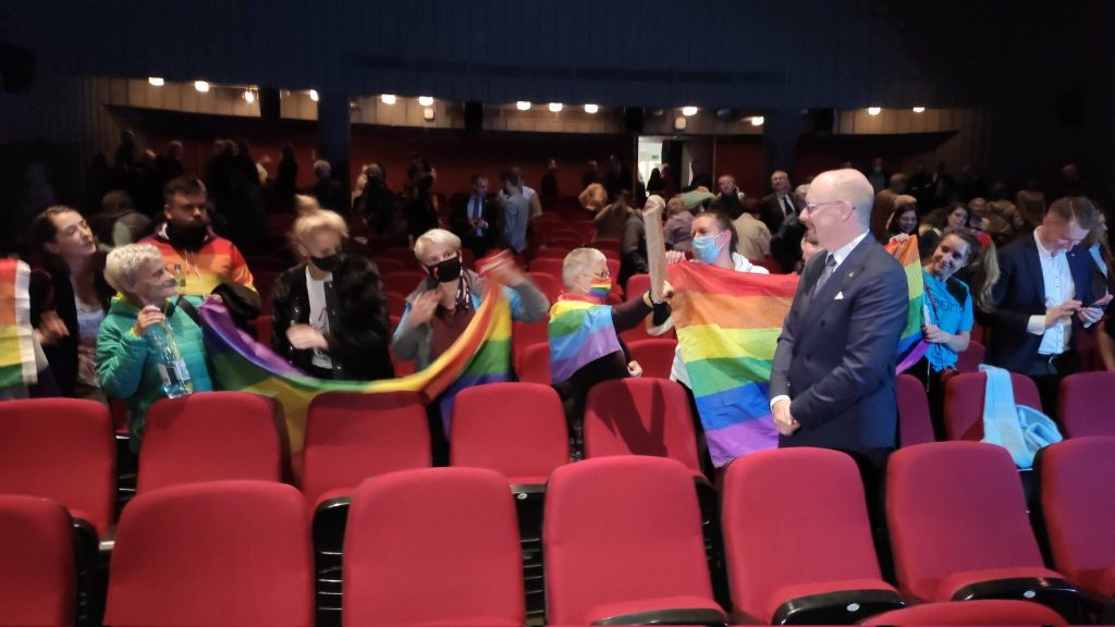 LGBT activists disrupted the screening of a film about Urdu Juris