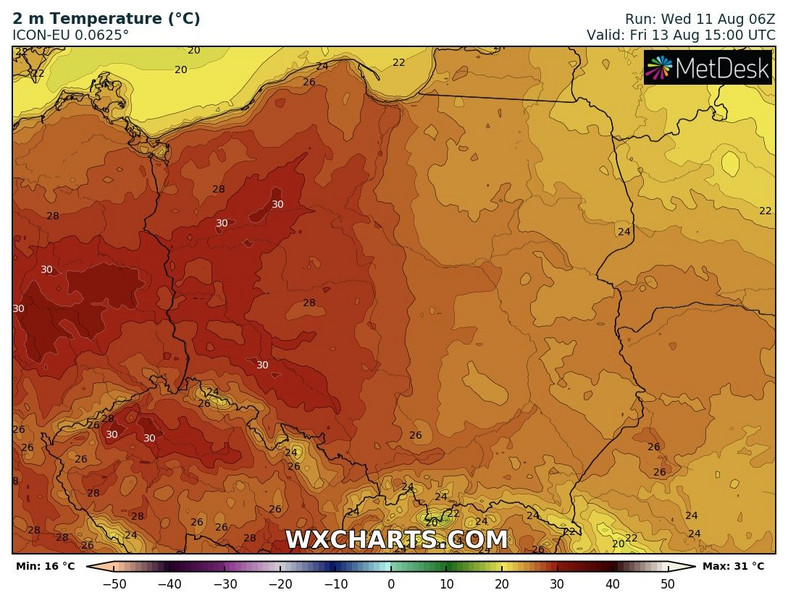 Friday as temperatures soar in western Poland