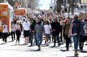 Australia: They are protesting the lockdown.  Clashes took place with the police