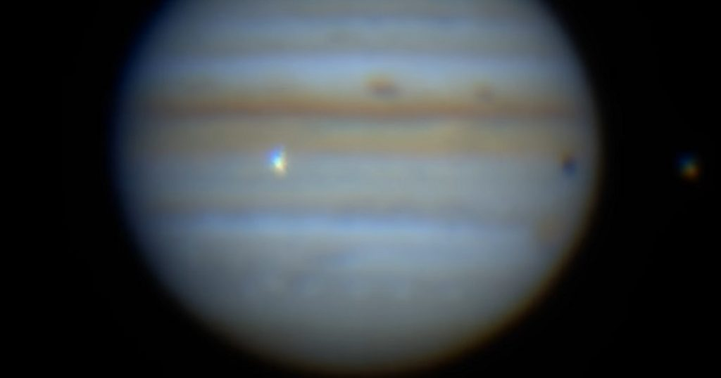 Jupiter.  The planet collided with a space object.  There is a recording