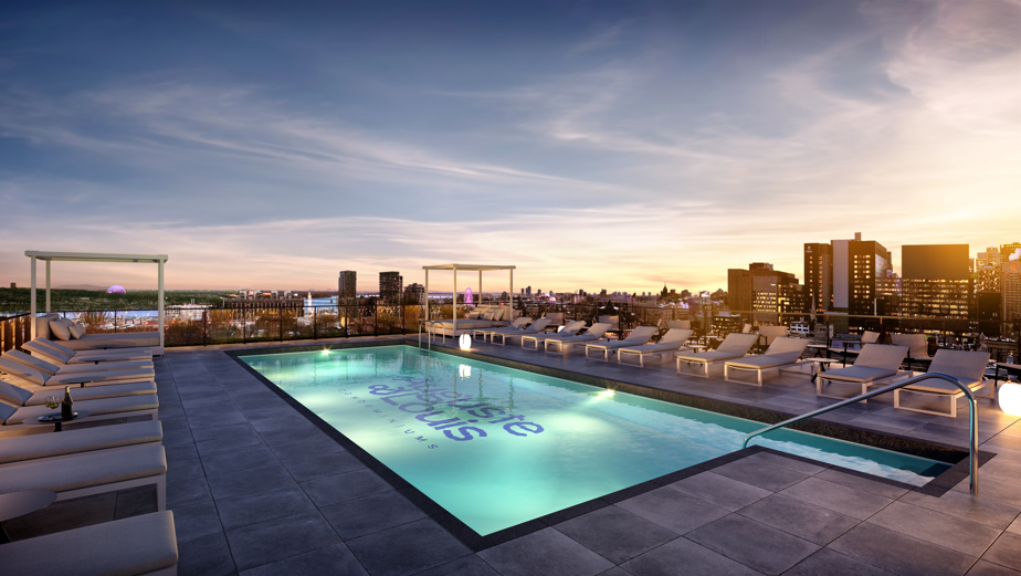 The developer plans spacious common areas.  Here, the outdoor swimming pool.