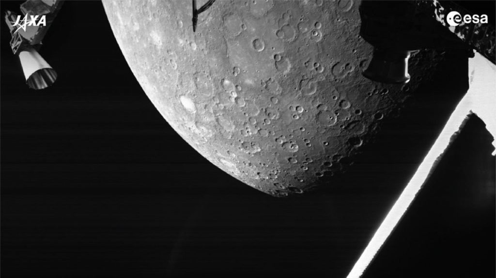 BepiColombo probe, ESA and JAXA.  The ship is approaching Mercury.  The first picture of the planet