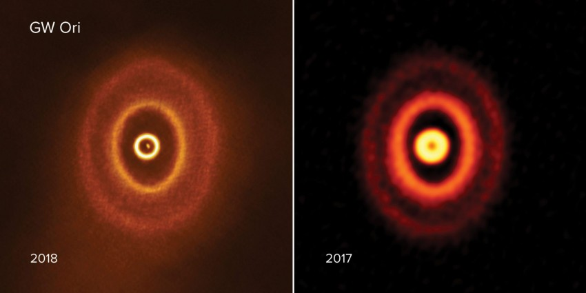 The planet orbits three stars in the GW Orionis system?